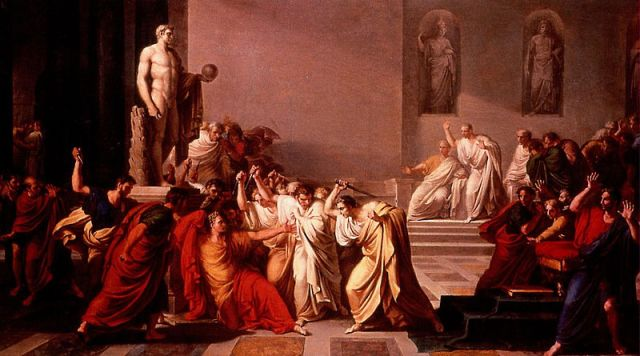 The Death of Julius Caesar. Vincenzo Camuccini. 1804-1805. Oil on canvas. Via Wiki Commons.