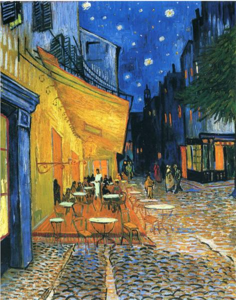 Cafe Terrace, Place du Forum, Arles. Vincent van Gogh. Via Wiki Paintings.