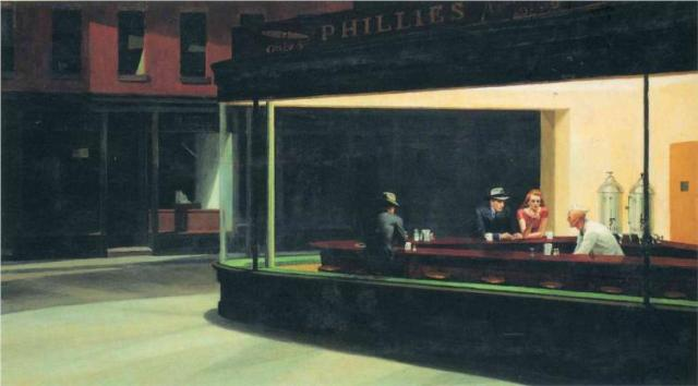 Nighthawks. Edward Hopper. Via Wiki Paintings.