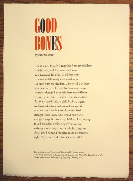 """Good Bones"" by Maggie Smith. Designed by Josef Beery. Click photo or HERE to purchase."